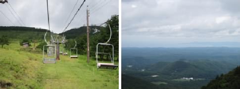 三瓶山観光リフト(左)と女三瓶山頂から見る島根半島方面(右)